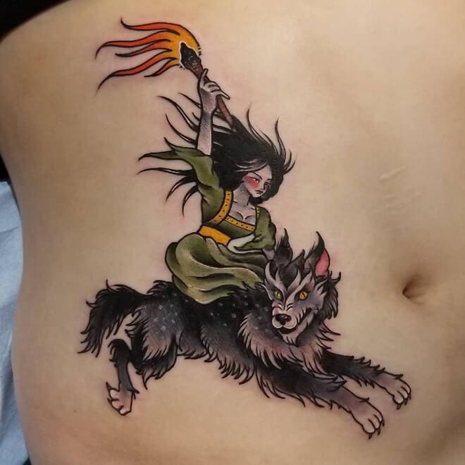 Witch Stomach Tattoo