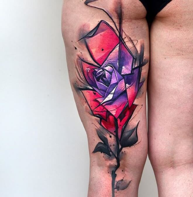 Amazing Watercolor Rose Tattoo
