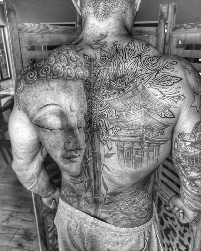 Back Site Buddha Tattoo