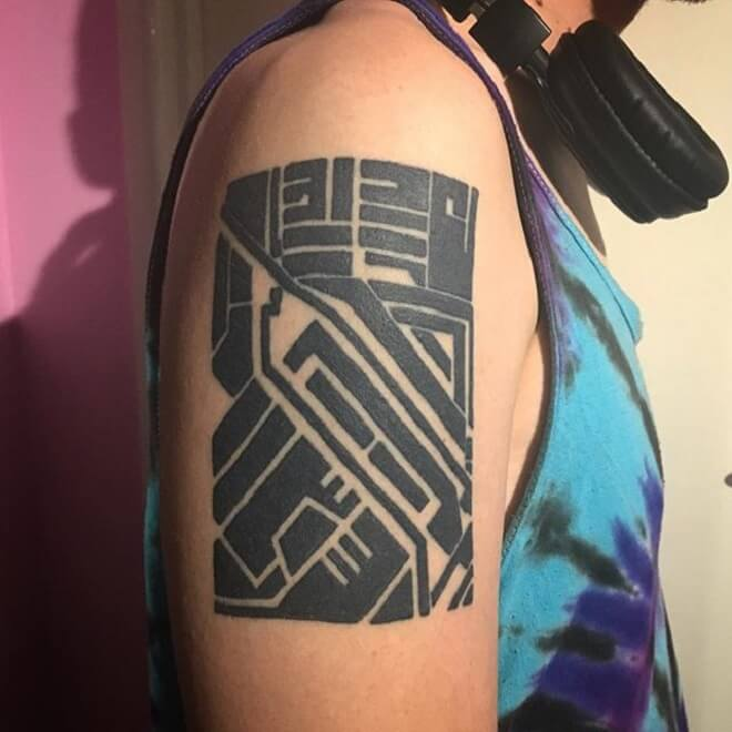 Black Circuit Tattoo