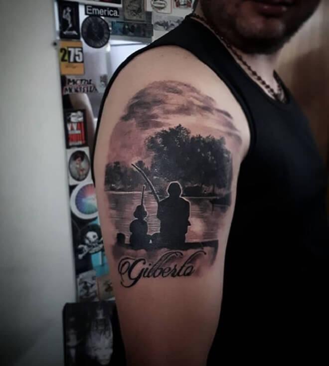 Black Fishing Tattoo
