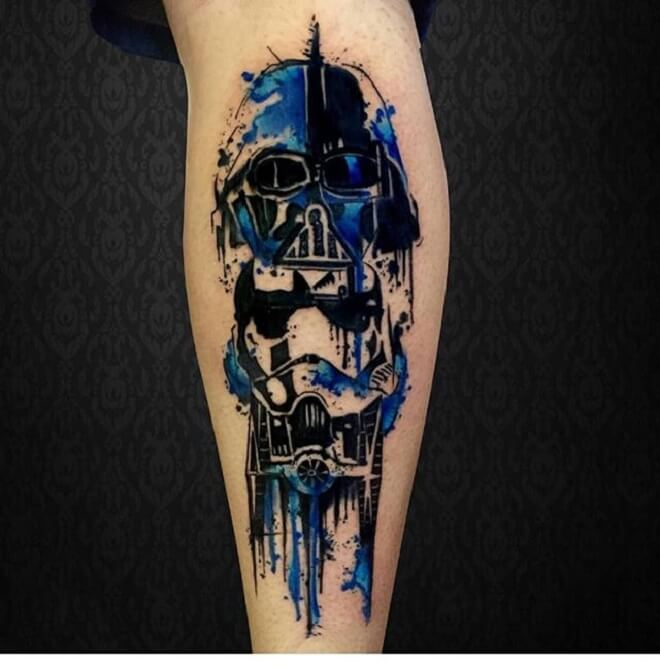 Blue Darth Vader Tattoo