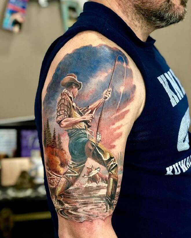 Boy Fishing Tattoo