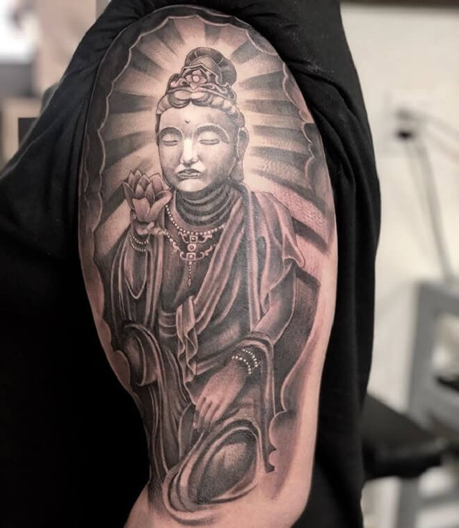Buddha Black and Grey Tattoo