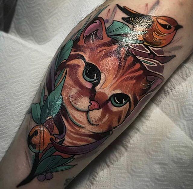 Cat Traditional Tattoo