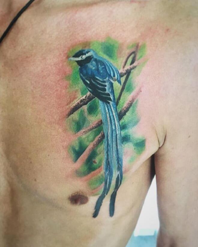 Chest Bird Tattoo