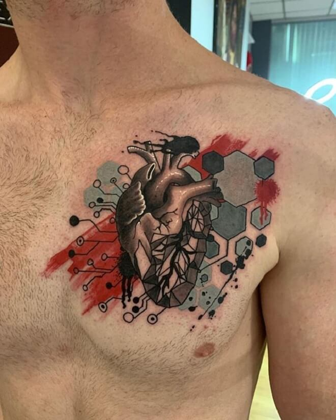 Chest Circuit Tattoo
