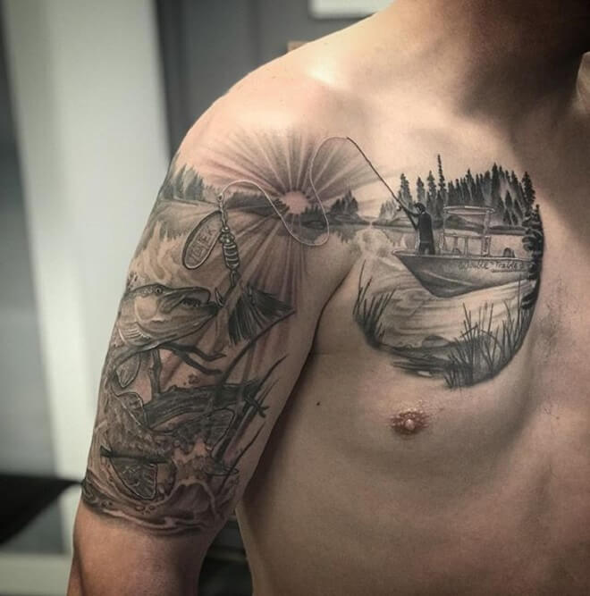 Chest Fishing Tattoo
