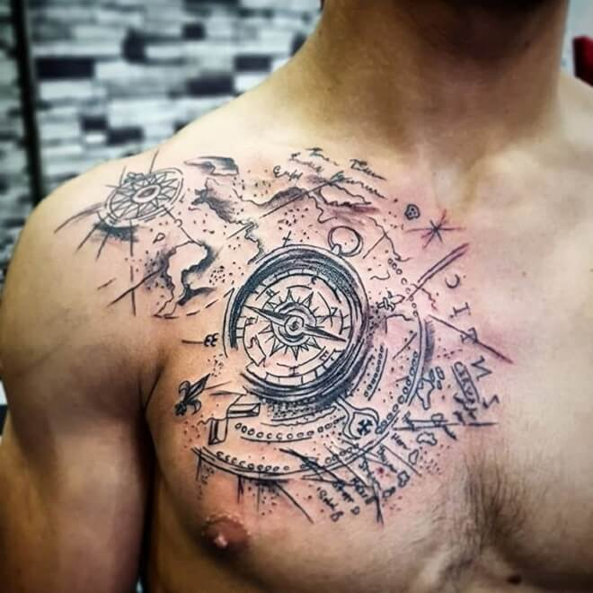 Chest Map Tattoo