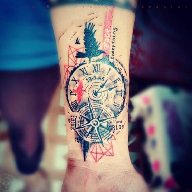 Clock Colorful Tattoo