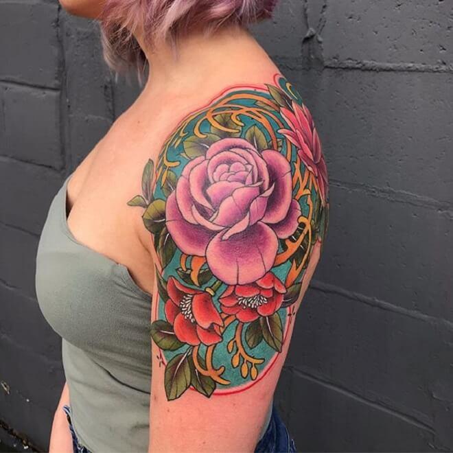 Color Shoulder Tattoo