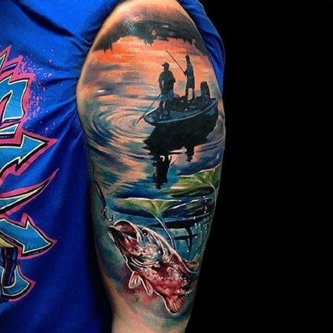Colorful Fishing Tattoo