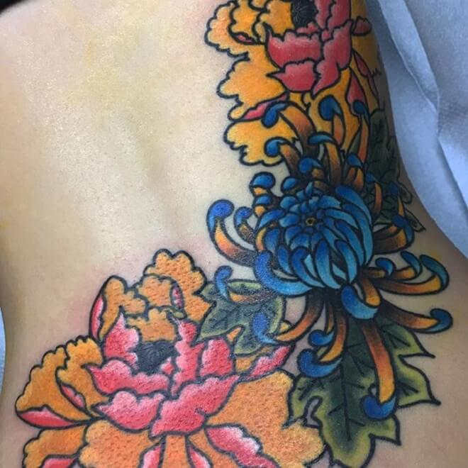 Colorful Lower Back Tattoo