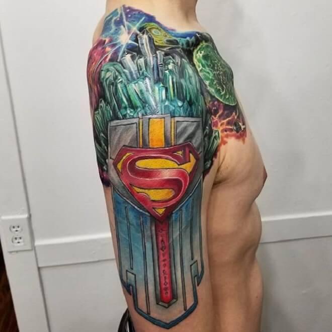 Colorful Superman Tattoo