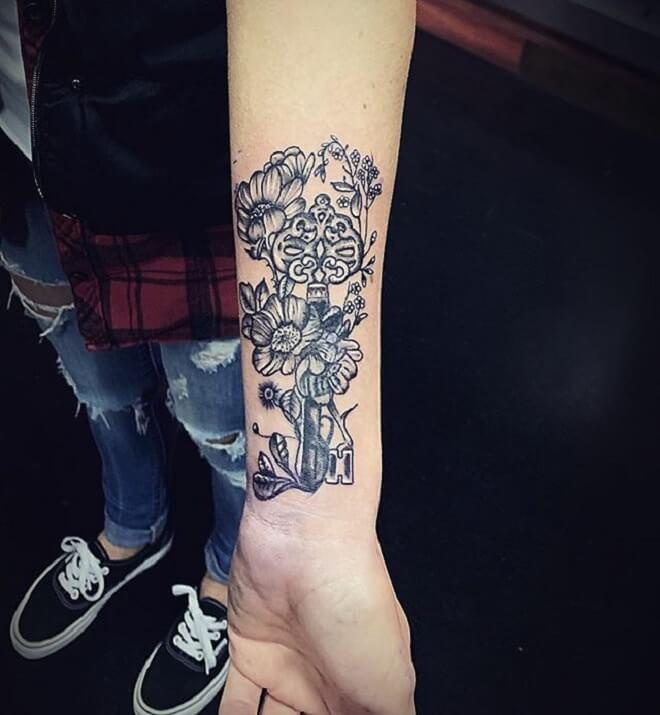 Coverup Key Tattoo
