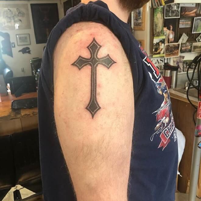 Cross Shoulder Tattoo