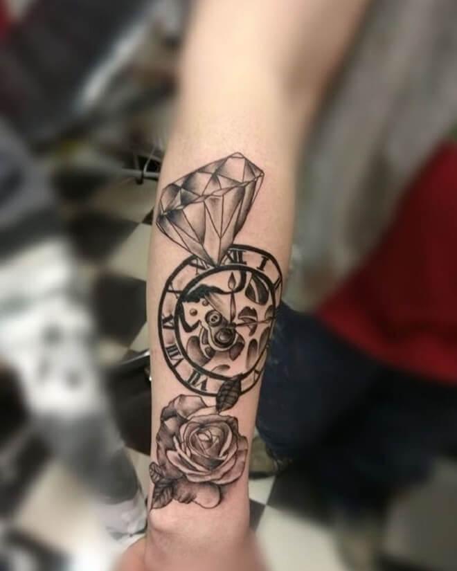Diamond Clock Tattoo