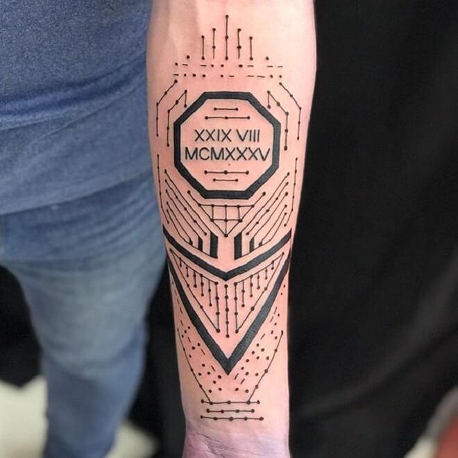 Dot Work Circuit Tattoo