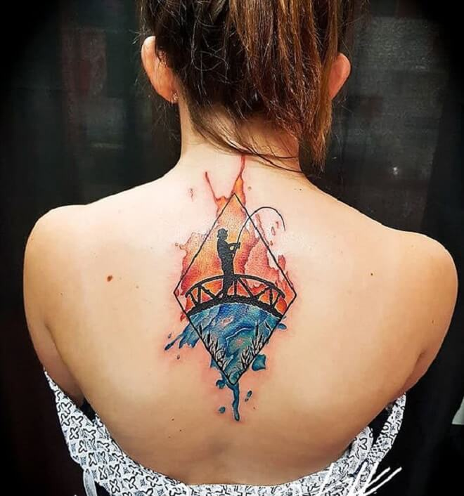 Female Fishing Tattoo
