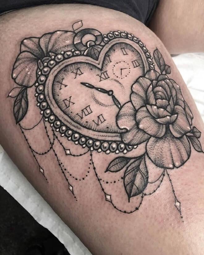 Flower Clock Tattoo