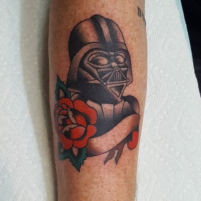 Flower Darth Vader Tattoo