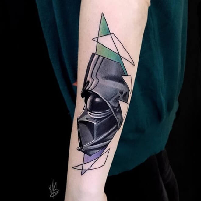 Geometric Darth Vader Tattoo