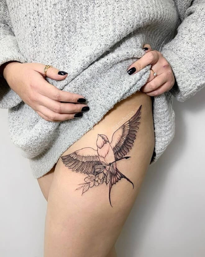 Girl Bird Tattoo