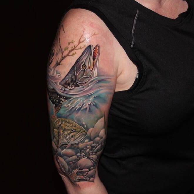 Girl Fishing Tattoo