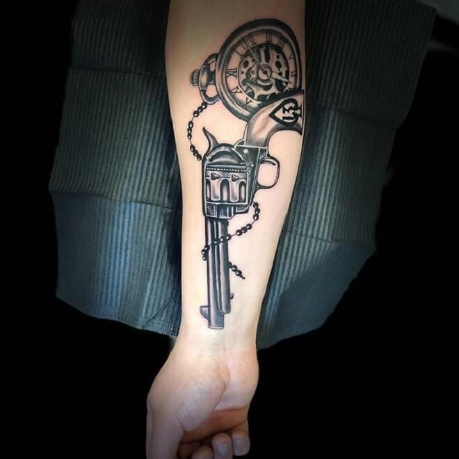 Gun Clock Tattoo