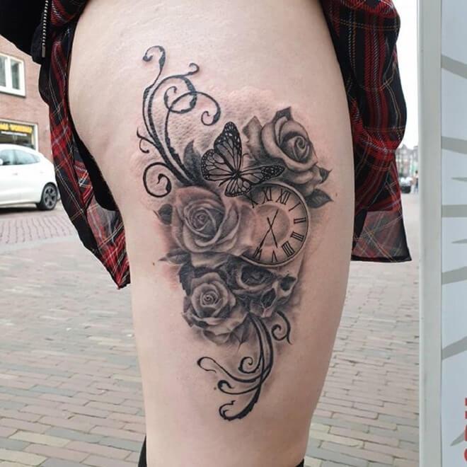 Hip Clock Tattoo