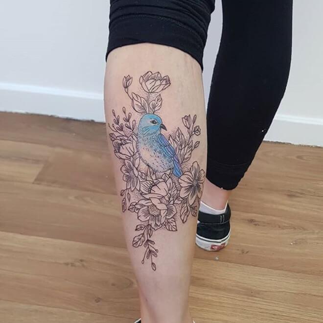 Leg Bird Tattoo