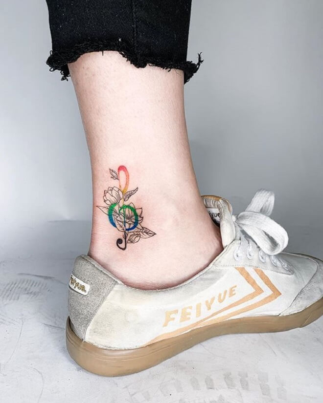 Leg Music Note Tattoo