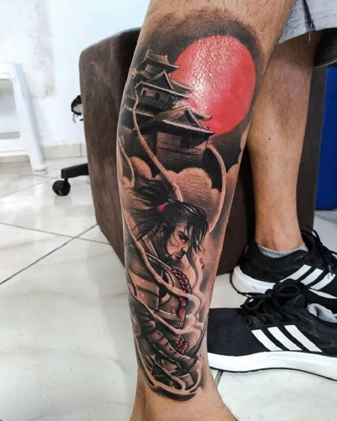 Leg Samurai Tattoo
