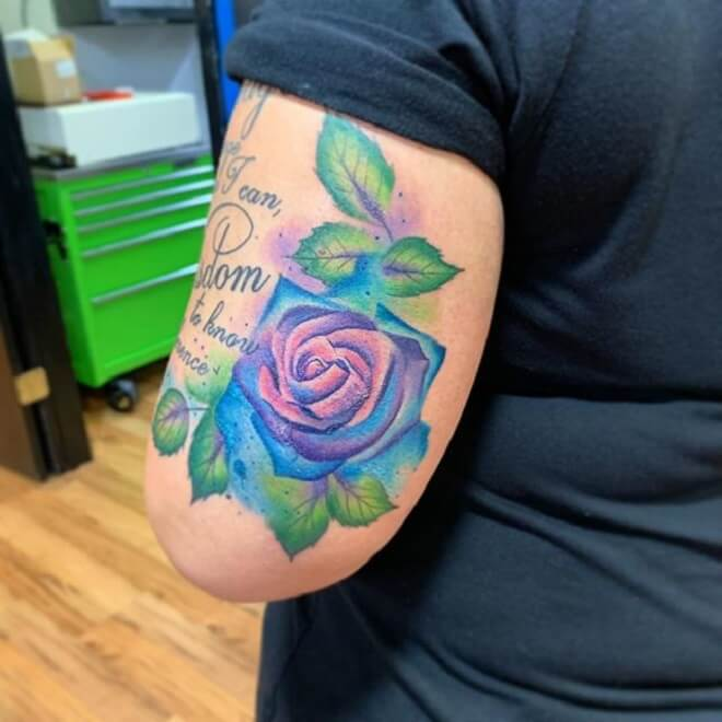 Letters Watercolor Rose Tattoo