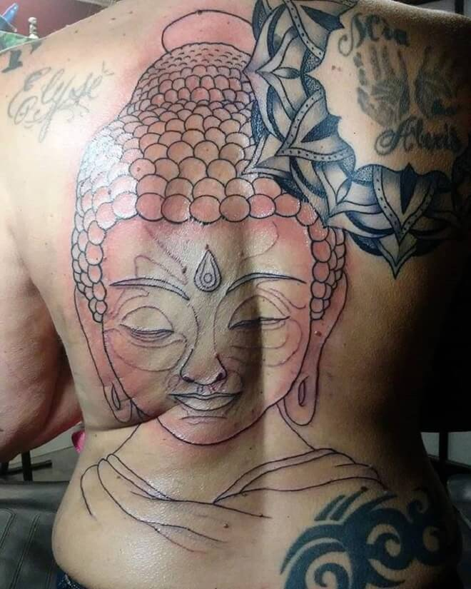 Line Buddha Tattoo