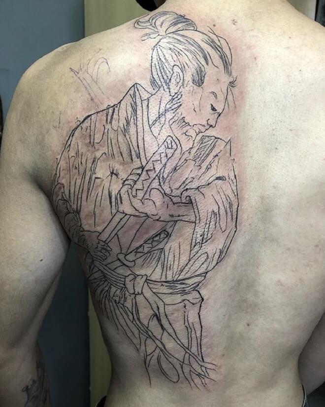 Line Samurai Tattoo