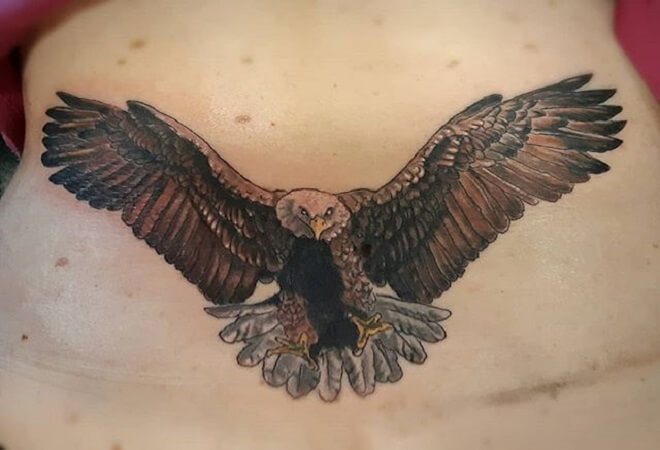Lower Back Eagle Tattoo