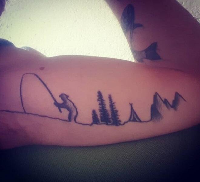 Mountain Fishing Tattoo