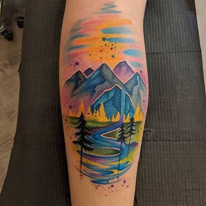 Mountains Colorful Tattoo