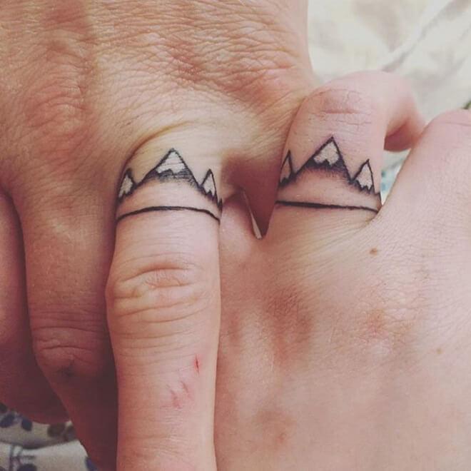 Mountains Wedding Ring Tattoo