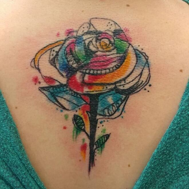 Mtm Watercolor Rose Tattoo