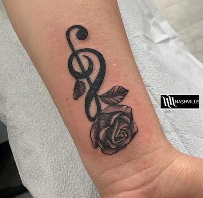 Rose Music Note Tattoo