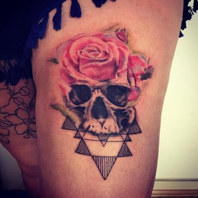 Skull Watercolor Rose Tattoo