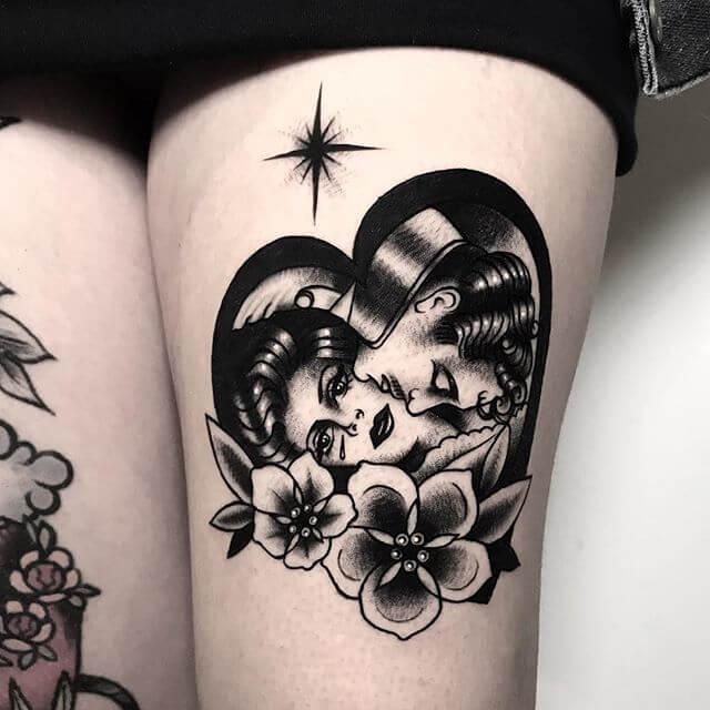 Thigh Traditional Tattoo