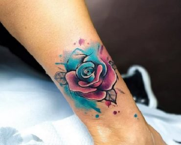 Top Watercolor Rose Tattoo