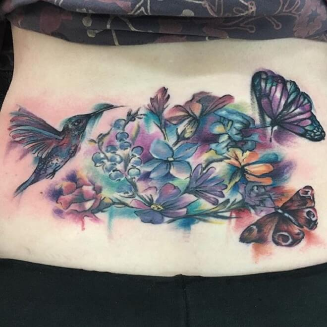 Watercolor Lower Back Tattoo