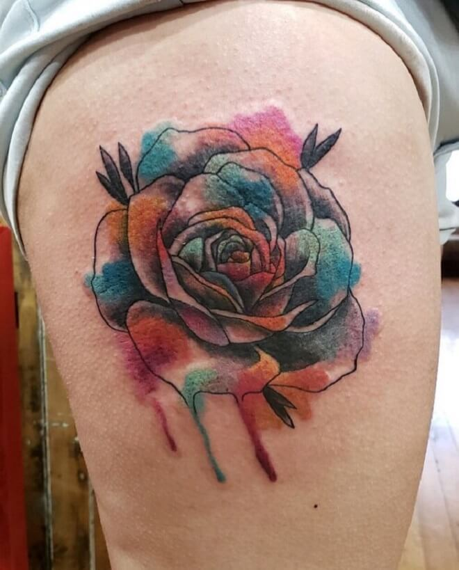 Watercolor Rose Hip Tattoo