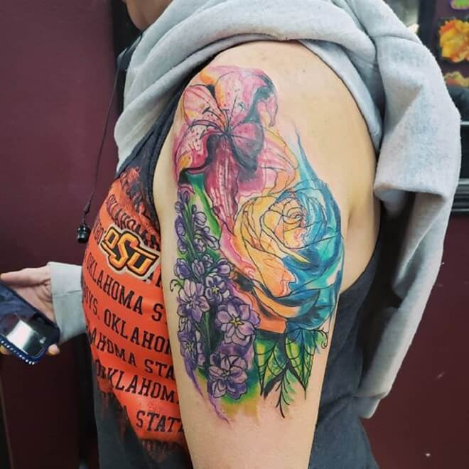 Watercolor Rose Tattoo for Women