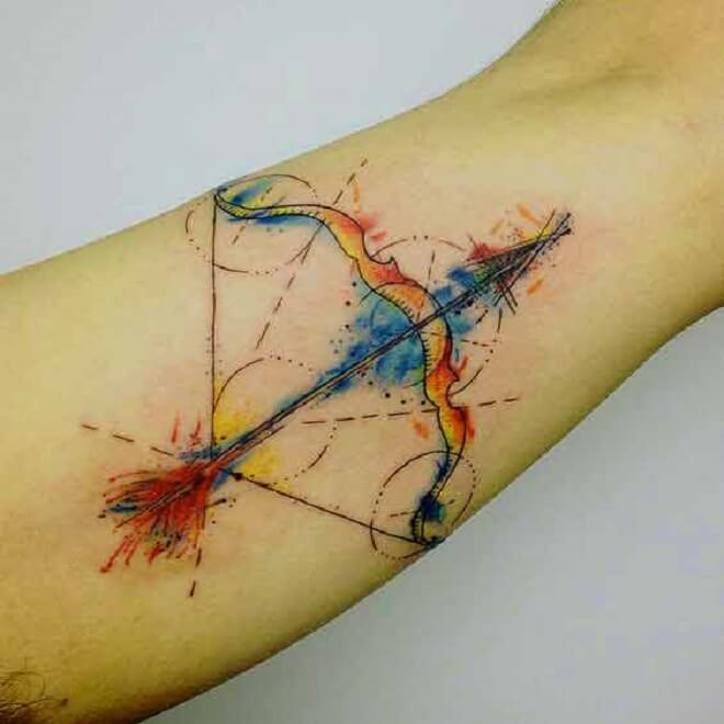 Watercolor Sagittarius Tattoo