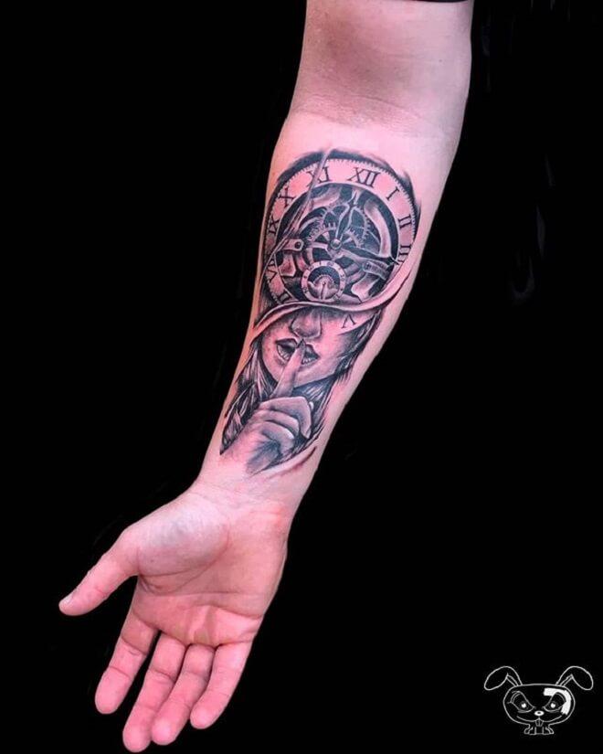 Women Clock Tattoo